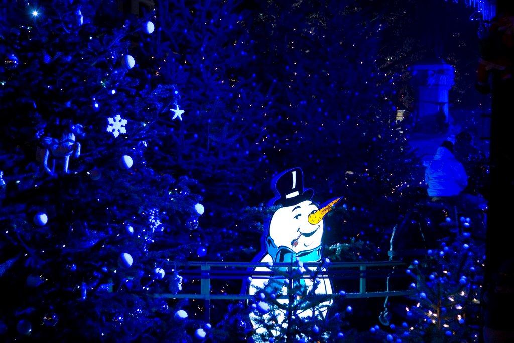 Illumination nocturne au marché de Noël des Enfants, place des Six Montagnes Noires